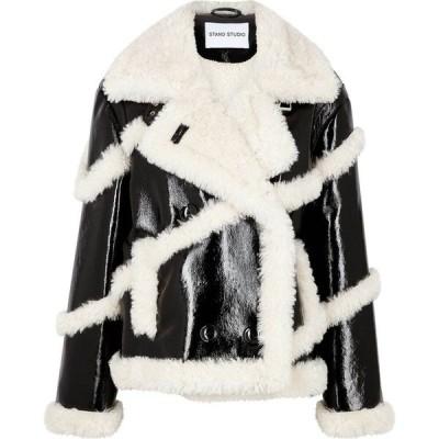スタンドスタジオ Stand Studio レディース ジャケット アウター melendy faux shearling-trimmed pvc jacket Black