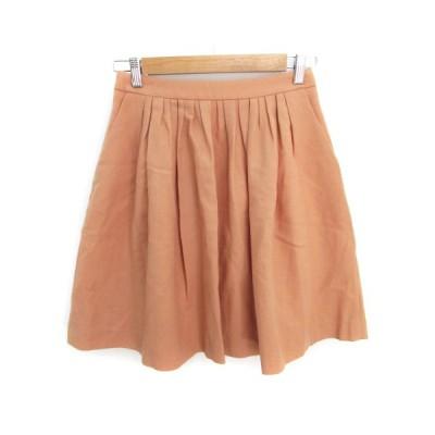 【中古】アナトリエ ANATELIER スカート フレア ギャザー ひざ丈 ウール 36 オレンジ /FF41 レディース 【ベクトル 古着】