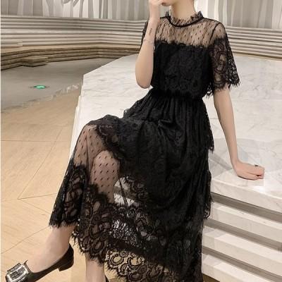 パーティドレス 総レース シースルー ドレス ワンピース 結婚式 お呼ばれ 大きいサイズ 袖あり 半袖 ミモレ丈 フォーマル 二次会 韓国 黒