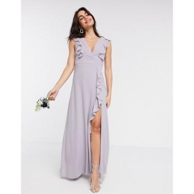 ティエフエヌシー レディース ワンピース トップス TFNC Bridesmaid ruffle detail maxi dress in gray Gray