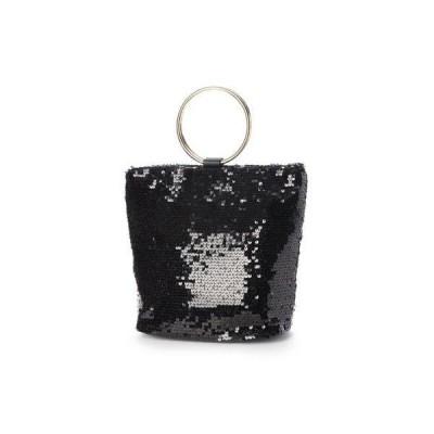ヴィータフェリーチェ VitaFelice スパンコールバッグ トートバッグ リングハンドル 二次会バッグ ミニトートバッグ (BLACK)