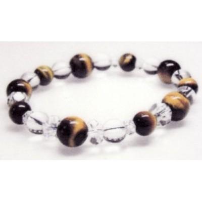 腕輪 石 トラメ石・水晶 天然石 上級品  (金運・仕事運)虎目石