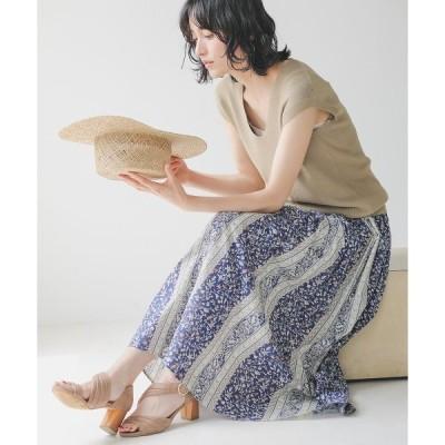 スカート パネル柄マキシフレアスカート/プリントマキシフレアギャザースカート