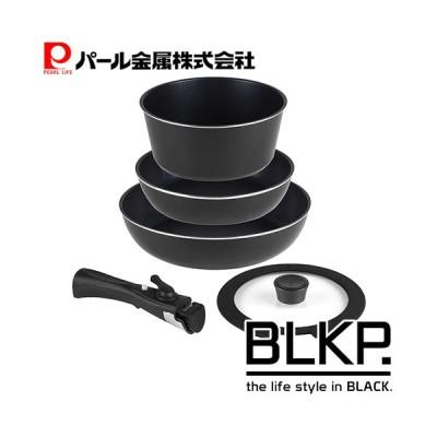 フライパンセット IH対応 5点 フライパン 鍋 ブルーダイヤモンドコート 取っ手の取れる ブラック BLKP 黒 AZ-5111 パール金属