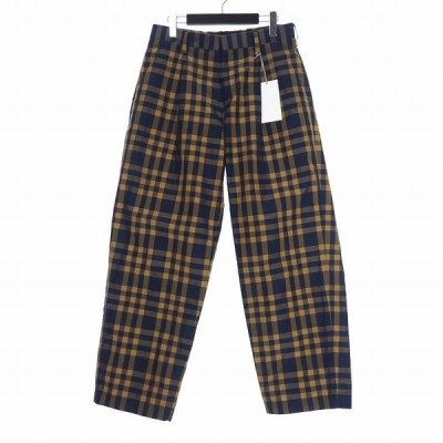 【中古】カラー kolor 20SS ナイロン ラミー チェック スラックス パンツ 1 オレンジ ネイビー 20SCM-P18110 メンズ 【ベクトル 古着】