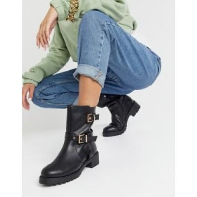 エイソス レディース ブーツ・レインブーツ シューズ ASOS DESIGN Asha pull on trucker boots in black Black