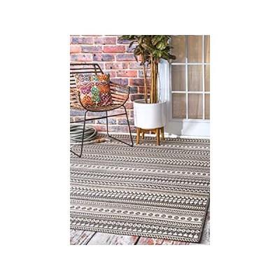 "nuLOOM Teofila Aztec Indoor/Outdoor Area Rug, 6' 3"" x 9' 2"", Grey"