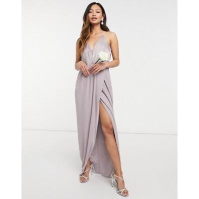 ティエフエヌシー レディース ワンピース トップス TFNC bridesmaid satin halterneck top maxi dress in gray