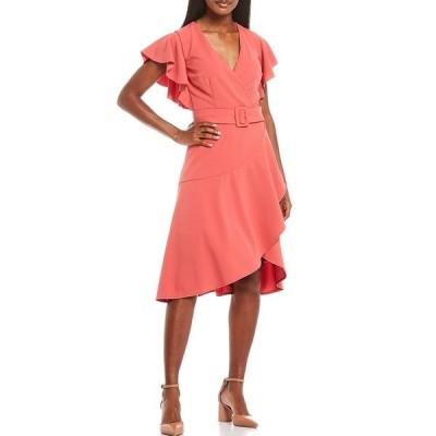 ドナモーガン レディース ワンピース トップス Knitted Crepe Asymmetrical Ruffle Dress Terracotta