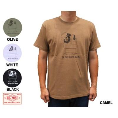 BIG MIKE ビッグマイク 半袖 Tシャツ「SLEEPING MIKE Tee」  7.2オンス アメカジ キャメル オリーブ 白 ホワイト 黒 ブラック 102128412