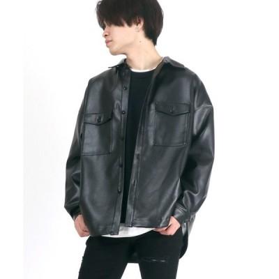 ジャケット ブルゾン ビッグシルエット フェイクレザーCPOシャツジャケット/レザージャケット/2021 SPRING