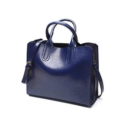 新品 Pahajim Women Top Handle Satchel Fashion Shoulder Oil Leather Handbags Bucket Bag Tote Purse for Ladies and Girl (Blue)