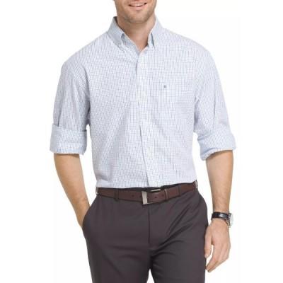 アイゾッド シャツ トップス メンズ Big & Tall Long Sleeve Essential Tattersall Woven Shirt Blue Revival