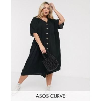エイソス レディース ワンピース トップス ASOS DESIGN Curve v neck button through midi smock dress in black