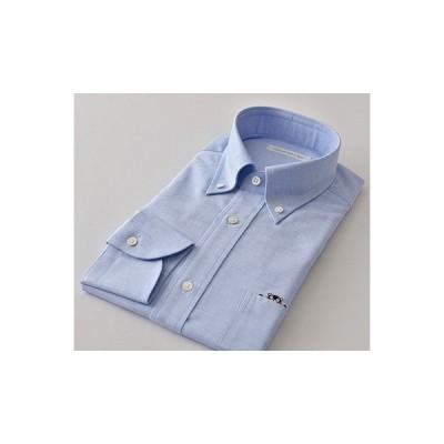 人吉市 ふるさと納税 HITOYOSHIシャツ くまモン紳士用 ブルー サイズ LL