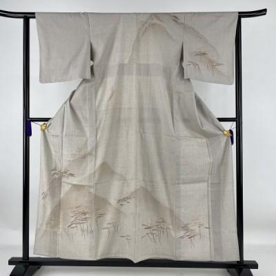 訪問着 秀品 紬地 遠山 樹木 刺繍 薄茶色 単衣 身丈157cm 裄丈61.5cm S 正絹 中古