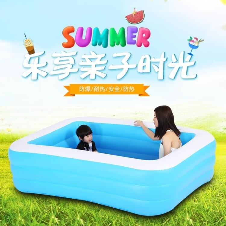 游泳池 藍白游泳池 充氣家用泳池加厚泡泡底泳池 概念3C