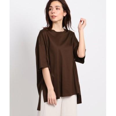 【インディヴィ】 スムースクルーネックTシャツ レディース ダーク ブラウン 15(3L) INDIVI