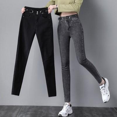 背が高くて薄く見える スモーキーグレーのハイウエストジーンズレディース2021年春秋新作韓国バージョンの薄手のストレッチタイトフィット9ポイントスリムフィットパンツ