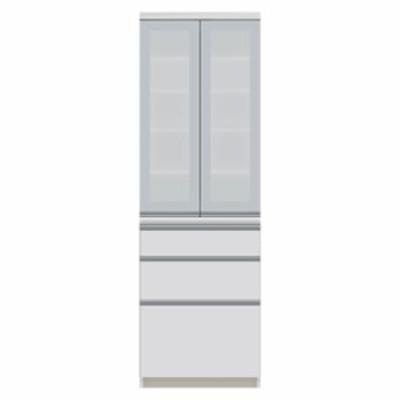 食器棚 パモウナ JI-S600K 【幅60×奥行45×高さ187cm】 パールホワイト ソフトクローズ仕様 引出し
