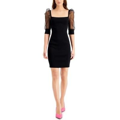 バースリー ワンピース トップス レディース Organza-Sleeve Sweater Dress, Created for Macy's Deep Black