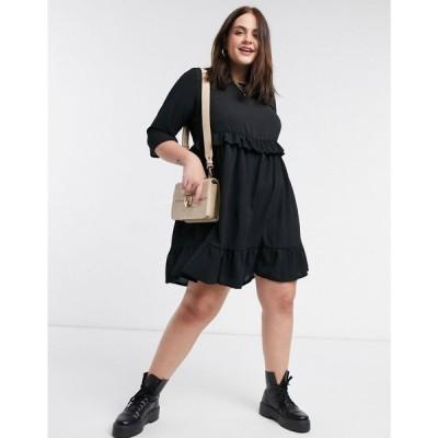 ユアーズ Yours レディース ワンピース ワンピース・ドレス frill layer smock dress in black ブラック