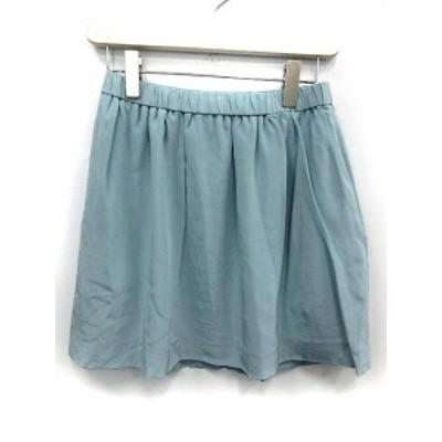 【中古】アドーア ADORE スカート ミニ 台形 シルク 36 ブルー /YO24 レディース ベクトル【中古】