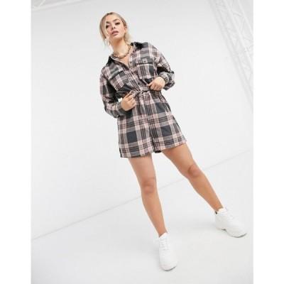 ミスガイデッド Missguided レディース オールインワン プレイスーツ ワンピース・ドレス Long Sleeve Playsuit In Brushed Check ピンク