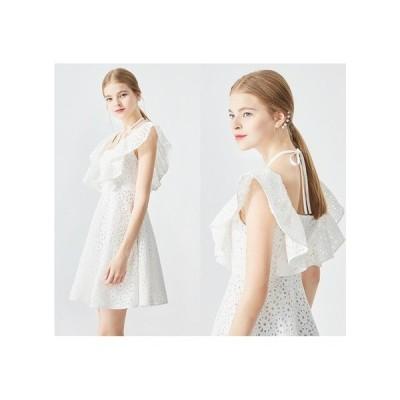ホワイト レース パーティードレス フレアスカート ミニ丈 レディース ワンピース 結婚式 二次会 お呼ばれドレス kh-0571