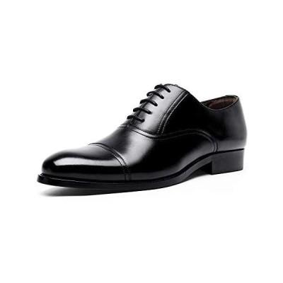 [YIMANIE] ビジネスシューズ 紳士靴 本革 メンズ 革靴 ストレートチップ 内羽根 高級靴 レースアップ (ブラック 27.5 cm)