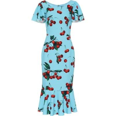ドルチェ&ガッバーナ Dolce & Gabbana レディース ワンピース ミドル丈 ワンピース・ドレス cherry printed midi dress Ciliegie Fondo Azzurro