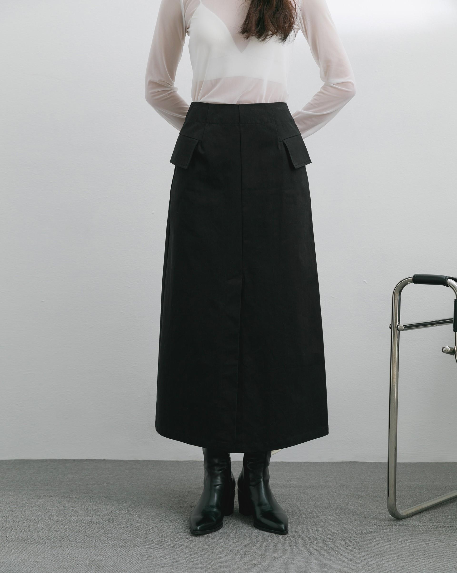 側翻蓋口袋開衩中長裙-Meierq