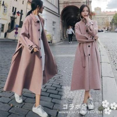 レディース チェスターコート ロング丈 ピンク 暖かい 冬アウター 柔らかコート スタンドコート ルーズコート やさしい色
