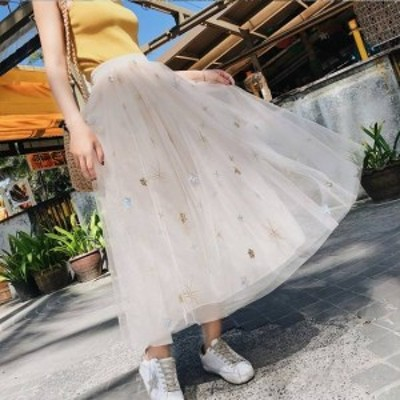 スカート チュールスカート レディース ボトムス ロング丈 マキシ丈 フレア スカート 大きいサイズ スパンコール 刺繍 装飾 春新作 春