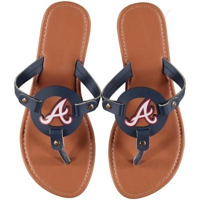 フォコ レディース サンダル シューズ Atlanta Braves Women's Die-Cut Logo Flip Flops