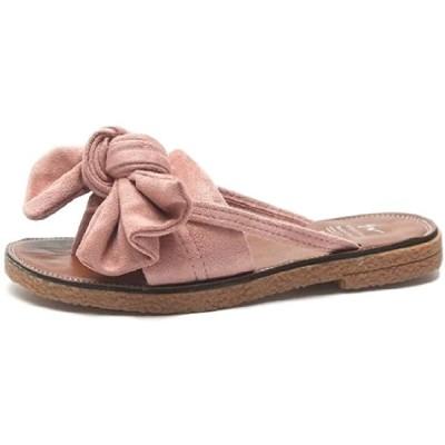 ローヒール フラット ぺたんこ サンダル トング リボン 靴 シューズ ビーチ ビーサン(ピンクベージュ, 23.5〜24.0 cm)