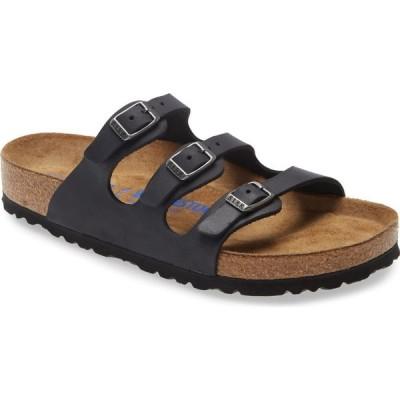 ビルケンシュトック BIRKENSTOCK レディース サンダル・ミュール シャワーサンダル シューズ・靴 Florida Slide Sandal Black Leather