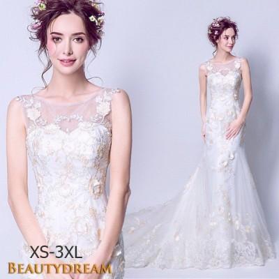贅沢ウェディングドレス、二次会、ロング、ウエディングドレス、プリンセス、エレガント、露背、ノースリーブ、レース、トレーンラインhs2773