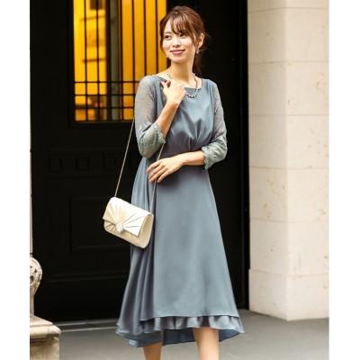 【結婚式・パーティードレス】バックカシュクールデザインワンピースドレス<大きいサイズ有> 【謝恩会・パーティドレス】Dress