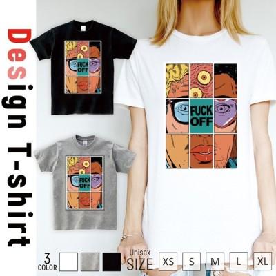 Tシャツ レディース 半袖 トップス ブランド ユニセックス メンズ プリントTシャツ ART rock FUCK  OFF サブカル アート かっこいい