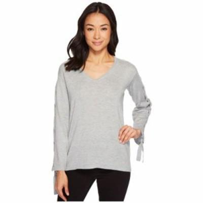 ヴィンス カムート ニット・セーター Petite Long Sleeve V-Neck Lace-Up Sleeve Sweater Light Heather Grey
