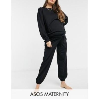 エイソス レディース カジュアルパンツ ボトムス ASOS DESIGN Maternity lounge super oversized sweatpants in black Black