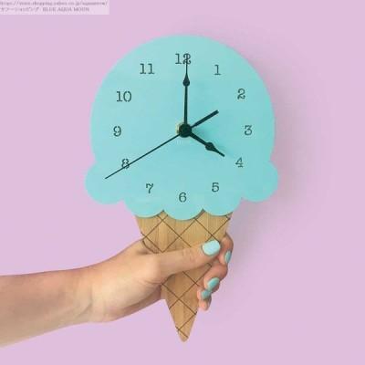 壁掛け 時計 おしゃれ ウォール クロック アイスクリーム アイス ダイカット 木製 子供部屋 インテリア ギフト 北欧