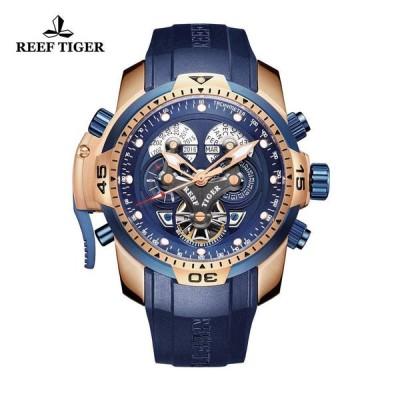 (リ-フタイガ-) Reef Tiger メンズウォッチ コンプリケ-テッドブル-ダイヤル ブラックラバ- ロ-ズゴ-ルド 自動時計RGA3503並行