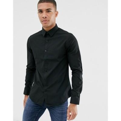 ニュールック ワークシャツ メンズ New Look poplin shirt in regular fit in black エイソス ASOS ブラック 黒