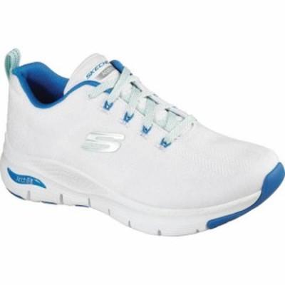 スケッチャーズ Skechers レディース スニーカー シューズ・靴 Arch Fit Comfy Wave Sneaker White/Blue