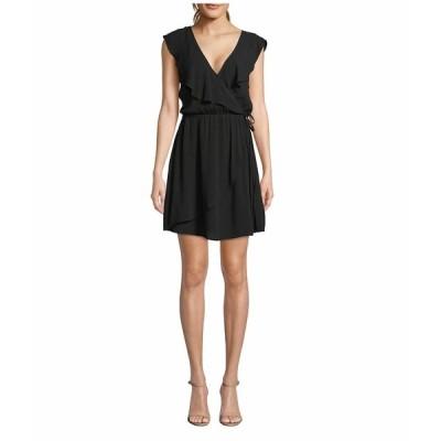 ジャック バイ ビービーダコタ ワンピース トップス レディース Crinkle Rayon Faux Wrap Dress Black