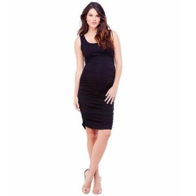 イングリッドアンドイザベル ワンピース トップス レディース Maternity Shirred Tank Dress Jet Black