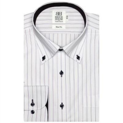 ブリックハウス(BRICKHOUSE)/形態安定 ノーアイロン 長袖ワイシャツ ボタンダウン 白×パープルストライプ スリム