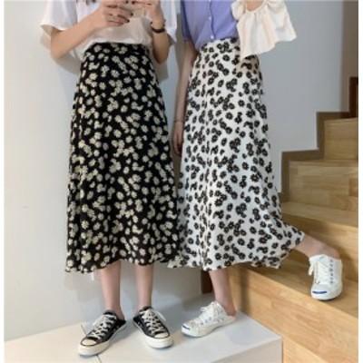 2020SS スカート 花柄 フレアスカート ミモレ丈 2色 オルチャン 韓国ファッション プチプラ TA04102